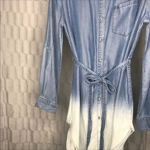 Anthropologie Tencel Chambray Dip Dye Shirt Dress